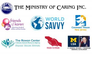 Logos of companies we support: Ministry of Caring, World Savvy, Person 2 Person, Friends of Karen Dick Trzaskoma Scholarship Fund, The Rowan Center, Covenant House New Jersey